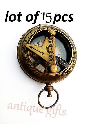Vintage Brass Antique Made Push Button Sundial Compass Antique Style 15 pcs
