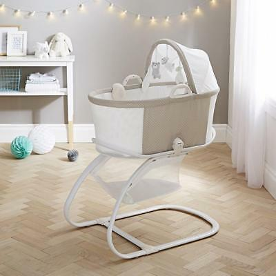 Purflo Bassinet Baby Crib Moses Basket with Mattress, Stand, Sound Box + Toys