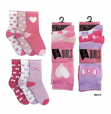 Girls 3 Pack Design Ankle Socks Pink Lilac Hearts Bows Size Kids Uk 9-6 New
