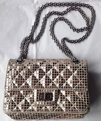 d596da6d43ce Chanel Mirror Reissue 2.55 Handbag Quilted Suede With Calfskin 224-Flap  Silver