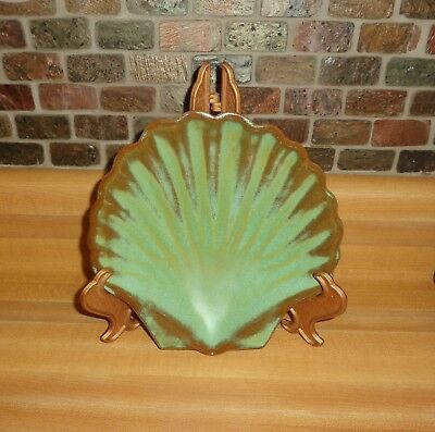 "Frankoma Pottery Prairie Green Clam Shell Dish Bowl Footed 7"" #473"