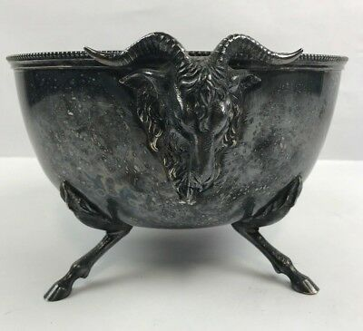 Antique Silverplated GOAT or RAM Heads Legs Figural Bowl to USE or Repurpose