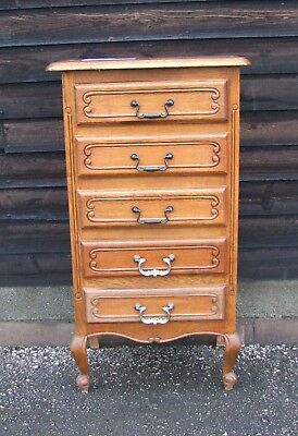 Louis XV Style Vintage French Carved Oak Chest of 5 Drawers  - (CONCD09)