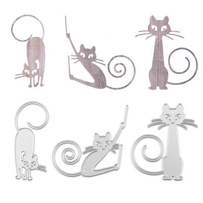 Cute Cat Design Metal Cutting Dies DIY Scrapbooking Album Paper Cards Hot FBB
