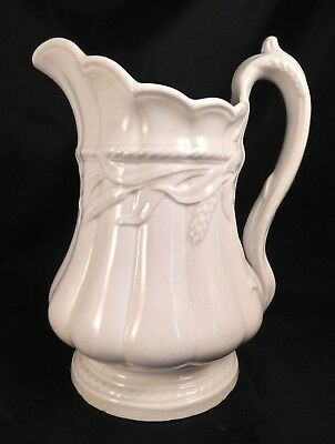 """c1859 Elsmore & Forster White Ironstone China Ceres Wheat 9 1/2""""h Pitcher"""