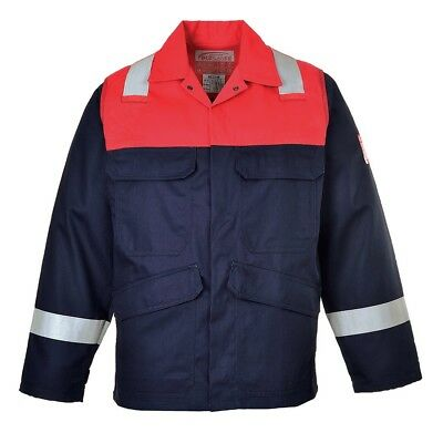 BNWT Men's Portwest Flame Resistant Bizflame Plus Jacket Anti Static Red Size S
