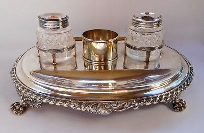 Antique English Silver & Cut Glass Double Inkwell & Pen Tray Desk Stand