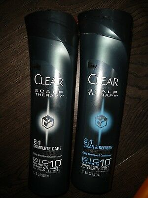 (2) Clear Men Scalp Therapy Clean & Refresh Anti-Dandruff Daily Shampoo 12.9 oz