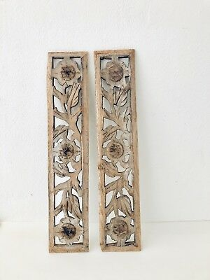 Rare Beautiful Wall Wooden Antique 2 Panels Floral Handcarved Vintage