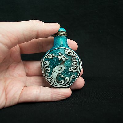 Chinese Carved Peking Glass Overlay Dragon And Phoenix Snuff Bottle