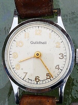 Vintage Old Guildhall Wind Up Wrist Watch Working Made in England