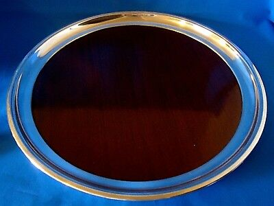 Large Vintage Mahogany Serving Tray w/ Silverplate Rim ~ Crescent