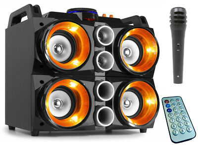 "FENTON ""MDJ200"" Partystation 150 Watt Akku Sound System IR Bluetooth USB SD LED"