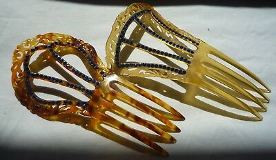 Beautiful 1920's Deco Celluloid Pierced Hair Comb Lot of 2 No reserve