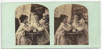 Stereo Stereoview Genre Children Blowing Bubbles London 1850er