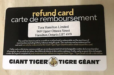 Giant Tiger (Hamilton) Refund Card - $39.41 Mail Delivery