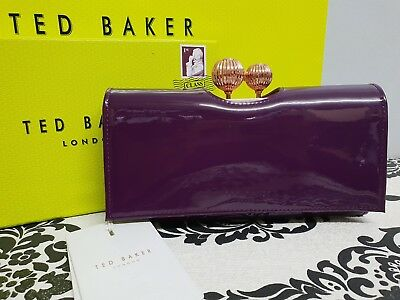 2e02f4998b618b Ted Baker Kimmiko Etched Bobble Leather Matinee Purse New Boxed Deep Purple