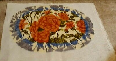 Antique France Large Gorgeous vintage hand done needlepoint Roses  flowers