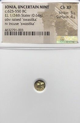 Ionia, NGC Ch XF Gold/ Electrum 1/24 Stater 625-550 BC, One of First Coins Stuck