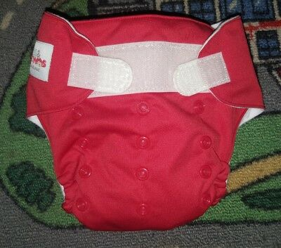 BABY BOYS Sz ONE SIZE FITS MOST red & white ONES & TWOS nappy BONUS SOAKER PAD!