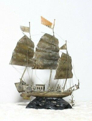 Antique Chinese Junk Ship Tin Metal Sculpture Boat, Collectible Galleon