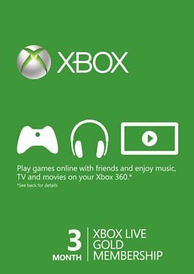 Microsoft Xbox Live Subscription 3 Month Gold Membership Card Global