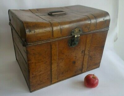 Antique Metal Steamer Trunk Travel Tin Plate Chest R. COTTRELL & Co Steampunk