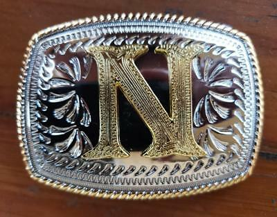 "Initial "" N "" Rodeo Cowboy Letter Shine Regular Gold Silver Western Belt Buckle"