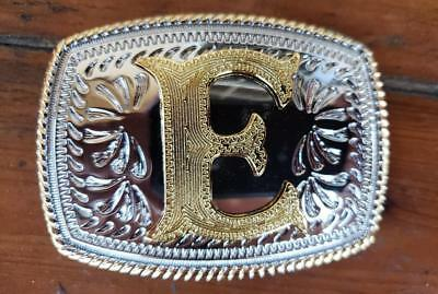 "Initial "" E "" Rodeo Cowboy Letter Shine Regular Gold Silver Western Belt Buckle"