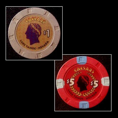 "Set Of 2 ""Caesar's Lake Tahoe NV"" Table Chips / Casino Closed"