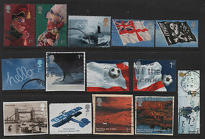 2) GB Stamps 2001 -2017 Booklet Collection of  89 Self Adhesives. Used.