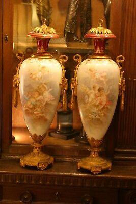 Stunning Pair Of Palatial French  Sevres Hand Painted Porc. Urns,  Bronze , 19C.