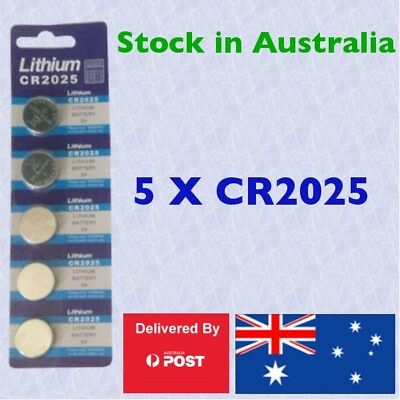 5 X CR2025 Lithium 3V Battery Button Cell Batteries Ideal for LED Remotes, Toys