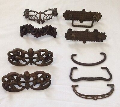 Mixed Antique Drawer Pulls Hardware Handles Lot Ornate Brass Salvage