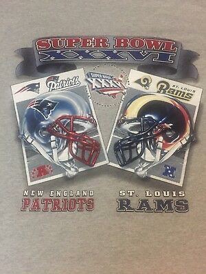 NWOT SUPER BOWL XXXVI 2002 NFL Snap back Cap HAT Patriots vs Rams ... 2899f6646