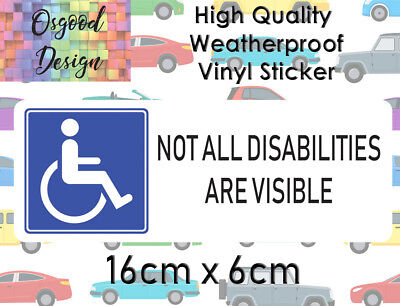 Not All Disabilities Are Visible Disabled Driver Vinyl Bumper Sticker C396