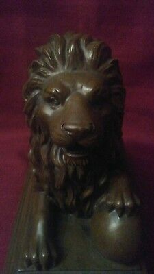 Beautiful Wood Carved Lion Statue