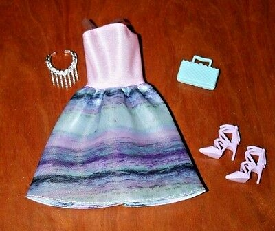 Barbie Doll Blue/pink Halter Party Dress With Strapy Shoes, Necklace,  & Purse