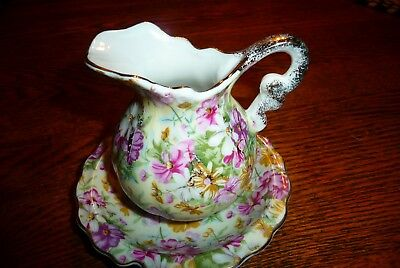 CHINTZ  PITCHER porcelain  ROYAL CHINTZ BOWL CROWN gold trim