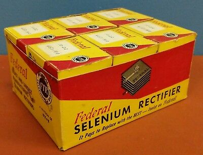 Lot Of 6 Vtg Federal 1022 450Ma Selenium Rectifiers - Nos In Boxes With Papers