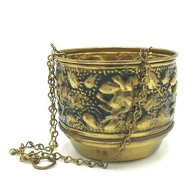 Vintage Hanging Brass Plant Holder with Chain Planter  Made in England