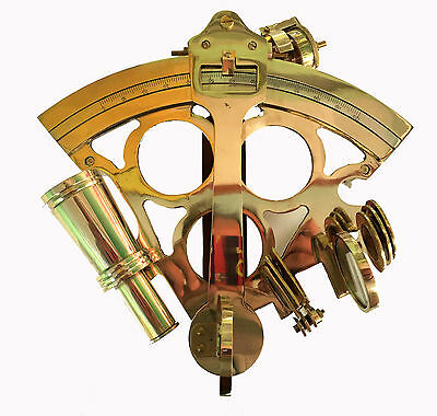 """8"""" Solid Brass Sextant Marine Ship Working Astrolabe Nautical Antique Sextant"""