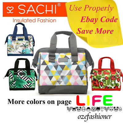 SACHI INSULATED LUNCH BAG Tote Storage Container Carry Strap 10 DESIGNS IS