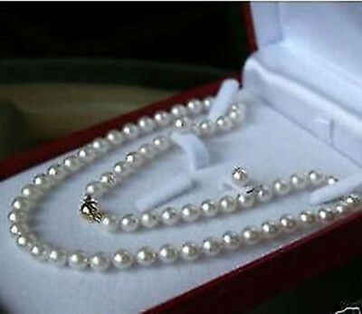 """xpu 8mm AAA++++  White South Sea Shell Pearl Necklace Earring Set 18"""" gift"""