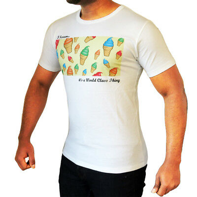 New Mens Graphic Print T Shirt Fitted Top Cotton Crew Neck Tee Summer Holiday