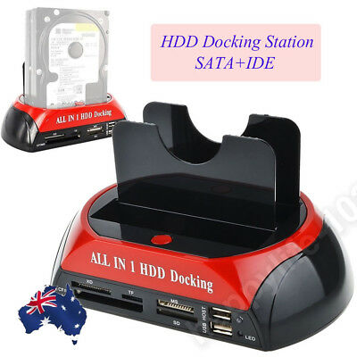 "Dual 2.5"" 3.5"" Hard Disk Drive Dock SATA IDE HDD Docking Station OTB Card Reader"