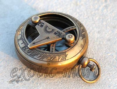 Vintage Maritime Brass Push Button Compass Collectible Pocket Sundial Compass 2""