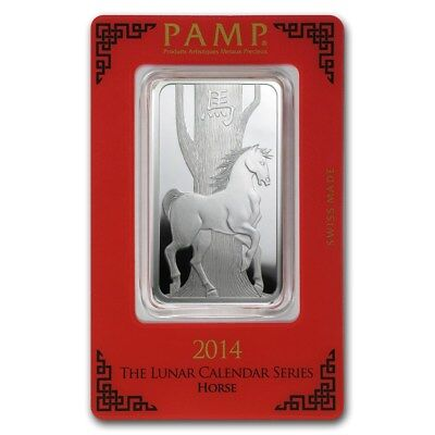 2014 Year of the Horse 1oz .999 Silver Minted Bar - Lunar Series - PAMP Suisse