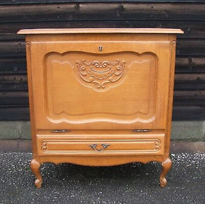 Louis Xv Style French Carved Oak Side/Drinks Cabinet (Consc12)