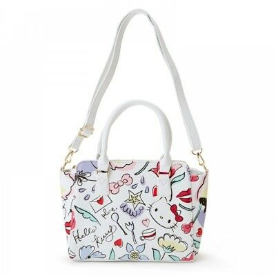 2d1e4fe3014d Hello Kitty 2Way Shoulder Tote Bag Handbag Purse Pouch White Sanrio Japan  S7675